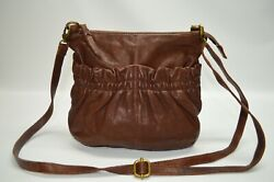 HOBO International Brown Gathered Leather Small Zip Crossbody Bag $36.00