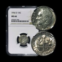 1956 D Roosevelt Dime Silver- Ngc Ms66