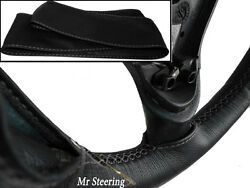 For Range Rover Classic Real Black Leather Steering Wheel Cover Grey Stitch