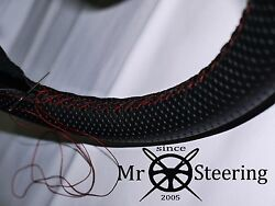 For Mercedes Vario Perforated Leather Steering Wheel Cover Dark Red Double Stich