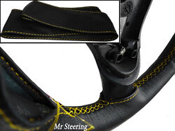 Fits Triumph Tr3 Real Black Leather Steering Wheel Cover Yellow Stitch 1955-1962