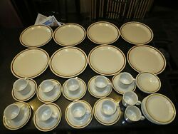 37 Total Vintage Mountain Wood Collection Stoneware Plates Cups Bowls