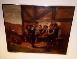 Antique Primitive Oil Painting Children Playing Country Toys Hulsmann 19thc