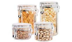 Clear Glass Airtight Containers Set W Clamp Lids Kitchen Pantry Storage Dry Food