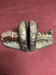 Pair 2 Vintage 1953 Gold/gray Chalkware Train Locomotive And Caboose Bookends