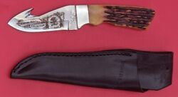 Bear And Son Hunting Gut Hook Skinning Knife Stag Handle