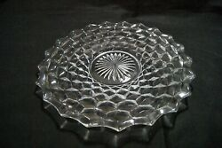 Vintage American Fostoria Clear Glass Round Serving Cake Plate Platter 12