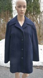 Vtg Authentic Mackintosh Womenand039s Sz Medium Lined Wool Button Down Navy Coat