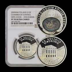 2009 Poland 10 Zlotych Silver - Ngc Pf70 Uc - Top Pop 🥇 Chamber Hologram