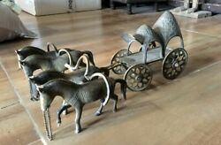 Antique Old Rare Decorative Brass Carriage Driven By Four Horses Temple Toy