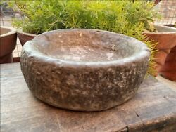 1700's Ancient Old Hand Caved Indian Stone Mortar Bowl Garden Decorative Bowl