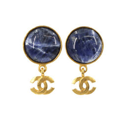Marble Stone Coco Earrings Gold Navy Accessory Vintage 95a 90116771