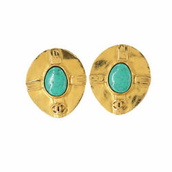 Color Stone Earrings Gold Green 96p Vintage Accessory 90117726