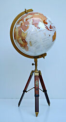 White 18 World Map Globe Geographic Educational With Tabletop Tripod Lab Equip.