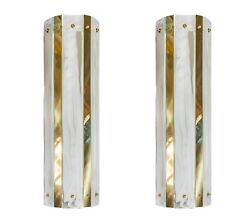 Pair Of Large Italian Murano Glass And Brass Wall Light Sconces