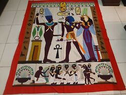 Antique Egyptian Appliqué Hand Woven Textile Wall Hanging Tapestry Size 93x73
