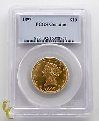 1897 10 Eagle Liberty Head Gold Coin Graded By Pcgs Genuine Cleaned