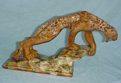 13.5 Haeger Pottery Crouching Panther Tiger Cat Royal Hickman Mcm Figure V.fine