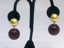 And Co 750 Paloma Picasso Yellow Gold With Cocobolo Wood Drop Earrings