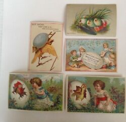 5 Antique Victorian Scrap Easter Cards With Eggs