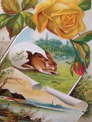 4 Antique Victorian Scrap Easter Cards With Rabbits And Chicks