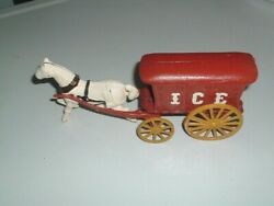 Antique Cast Iron Red Ice Wagon White Horse Drawn Cart Carriage Toy
