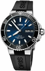 New Oris Aquis Big Day Date Blue Dial Rubber Strap Menand039s Watch 75277334135rs