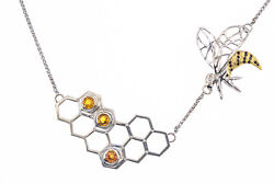 Natural Citrine And Diamond Bee Honeycomb 14k 585 White Gold Necklace