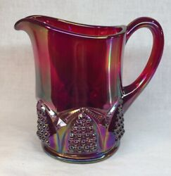 Fenton Art Glass Red Carnival Button And Arch Creamer / Pitcher 1993