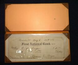 Antique Leather Ink Blotter Cover And Paper Check 1917 Brandon Vt National Bank