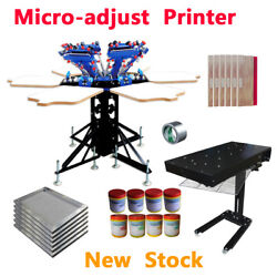 6 Color 6 Station Micro-adjust Screen Printing Kit Flash Dryer Stretched Screen