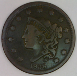 1838 Coronet Head Large Cent United States Matron One Penny Liberty Bust 1