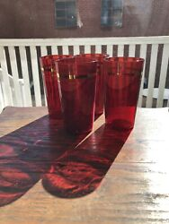 Lot Of Four Vintage Ruby Red With Gold Trim 4 3/4 Tumbler 10 Oz.