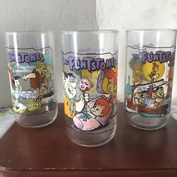 Flintstones Glasses First 30 Years 1964 Hardees Hanna-barbera Collectible Glass