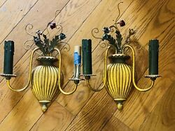 Pair Vintage Antique French Gilt Wall Candle Sconces Electric Light W Flowers