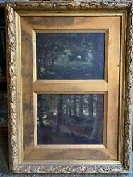 School French Early 20eme Two Landscapes Impressionists Forest In Un Same