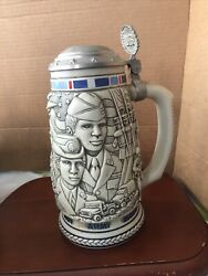 Tribute To The American Armed Forces Ceramic Beer Stein With Metal Lid