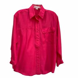80s/90s Vintage The Limited Silk Hot Pink Long Sleeve Blouse With Shoulder Pads