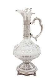 Fine Sterling Silver And Fine Cut Crystal Hand Chased Wine Decanter