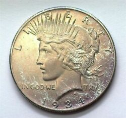 1934-s Peace Silver Dollar Appears Uncirculated+ Iridescent Toning Scarce This