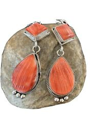Native American Navajo Sterling Silver Red Spiny Oyster Dangle Earrings Set 202