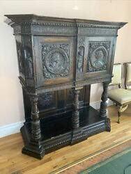 Antique 18 Century French Renassance Figural Carved Wood Cabinet, Museum Piece