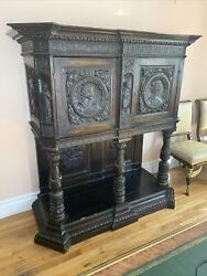 Antique 18 Century French Renassance Figural Carved Wood Cabinet Museum Piece