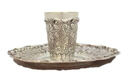 Fine 925 Sterling Silver Handmade Chased Floral Leaf Swirl Cup And Tray