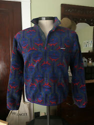 Vtg Menand039s Sz M Synchilla Fleece Pullover Tehuelche Blueberry And03993