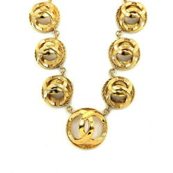 Coco Mark Round Necklace Gold Vintage Accessory 90121418