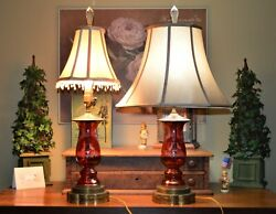 2 Bohemian Cranberry Ruby C To C Etched Glass Lamps Leaping Deer Crystal Finials