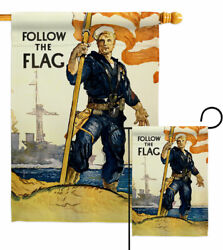 Follow The Flag Garden Navy Armed Forces Decorative Small Gift Yard House Banner