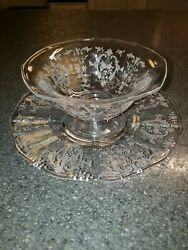 Fostoria Navarre Etched Clear Mayonnaise / Sauce Bowl And Underplate, Plate Dish