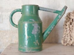 20th Century French Watering Can With Green Patina / Ancien Arrosoir Garden Zinc